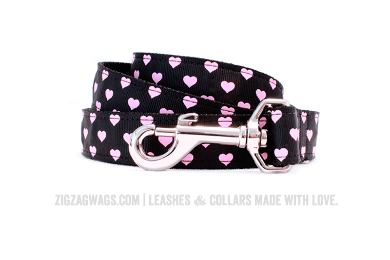 Black Hearts Dog Leash from ZigZag Wags