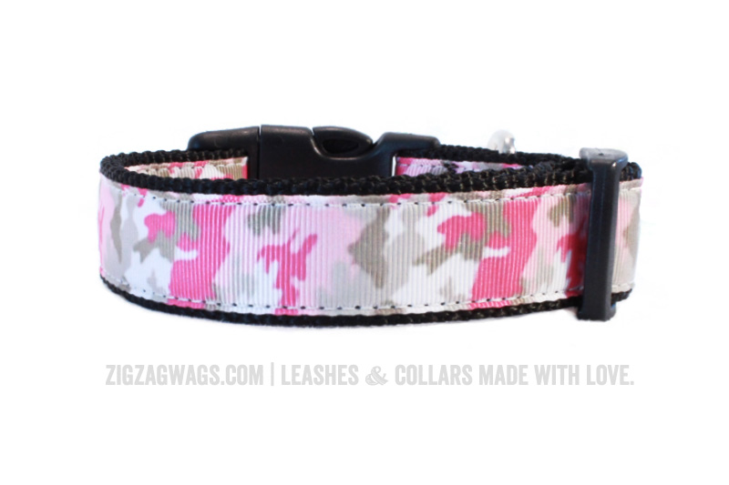 Pink Camouflage Dog Collar from ZigZag Wags