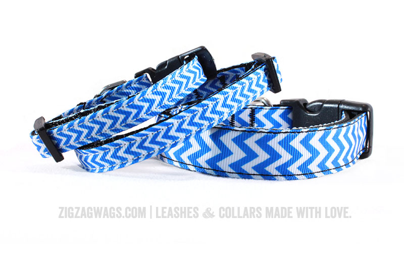 Blue Chevron Dog Collars from ZigZag Wags