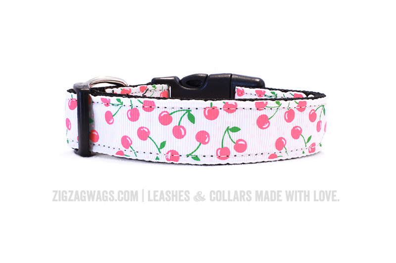 Cheerful Cherry White Dog Collar from ZigZag Wags