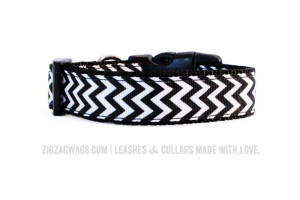 Black and White Chevron Dog Collar