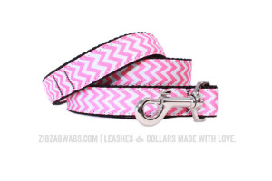 Pink and White Chevron Dog Leash
