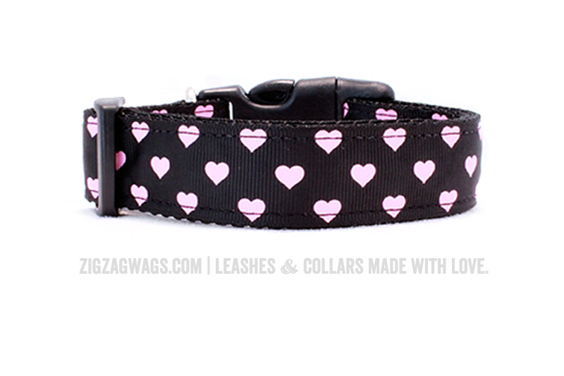Black Hearts Dog Collar from ZigZag Wags