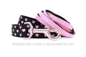Pink Dog Leashes from ZigZag Wags