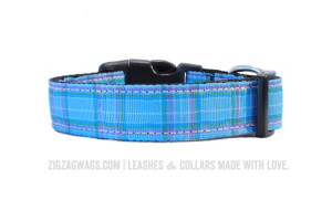 Large Blue Plaid Dog Collar
