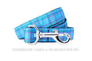 Blue Plaid Dog Leash from ZigZag Wags