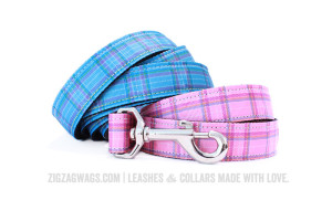 Blue and Pink Plaid Dog Leashes