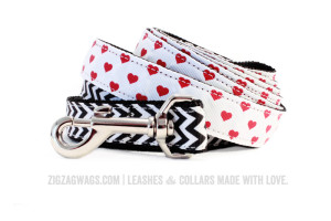 Black Chevron and Heart Patterned Dog Leashes from ZigZag Wags