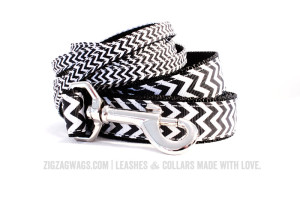 Black & White Chevron Striped Dog Leashes