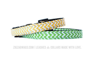 Green & Yellow Chevron Dog Collars - ZigZag Wags