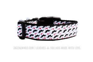 Moustache Patterned Dog Collar from ZigZag Wags
