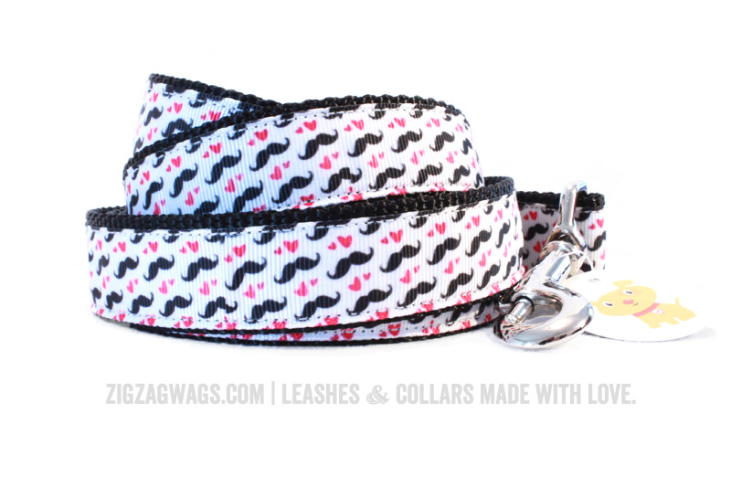 Moustache Patterned Dog Leash from ZigZag Wags