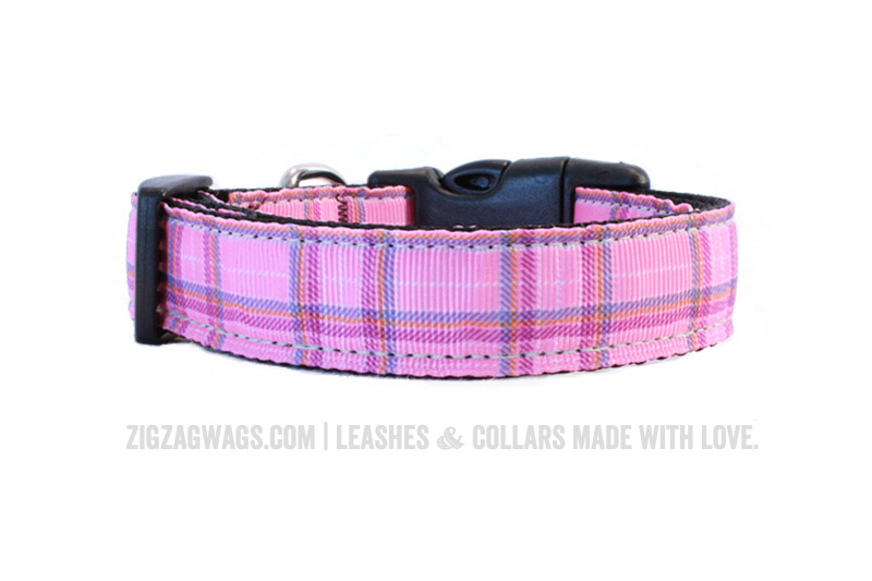 Pink Plaid Dog Collar - ZigZag Wags