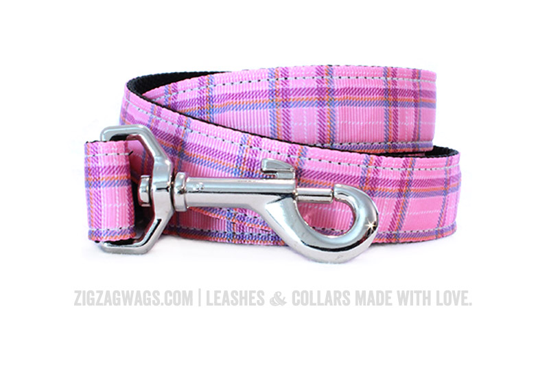 Pink Plaid Dog Leash from ZigZag Wags