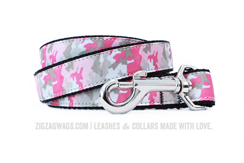 Pink Camouflage Dog Leash from ZigZag Wags
