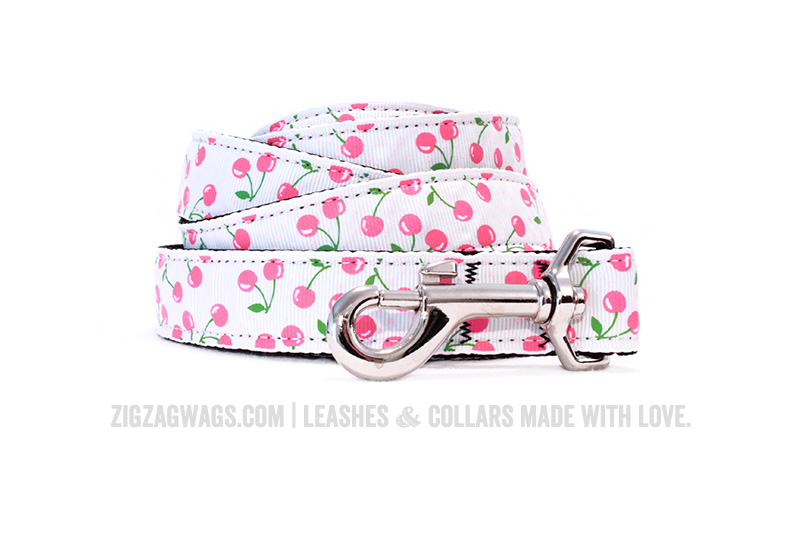 White Cheerful Cherry Dog Leash from ZigZag Wags