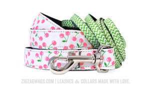 White Cheerful Cherry and Grass Green Dog Leash from ZigZag Wags