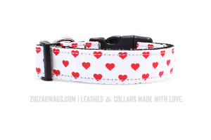 Large Heart Patterned Dog Collar from ZigZag Wags