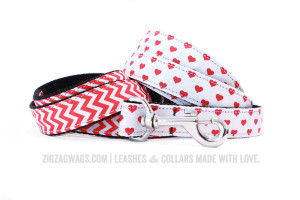 Red Hearts and Striped Dog Leashes at ZigZag Wags