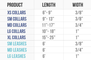 Dog Leash and Collar Size Chart